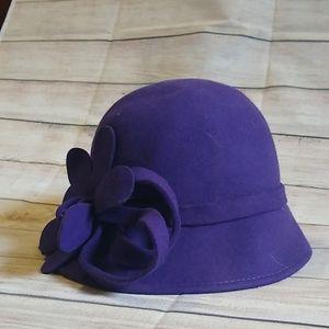Accessories - Purple Felt Hat with Flower Detail